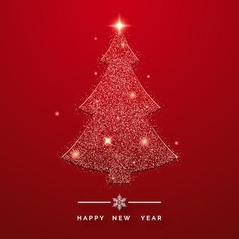 Tarjeta de felicitación de feliz año nuevo con brillante árbol de navidad