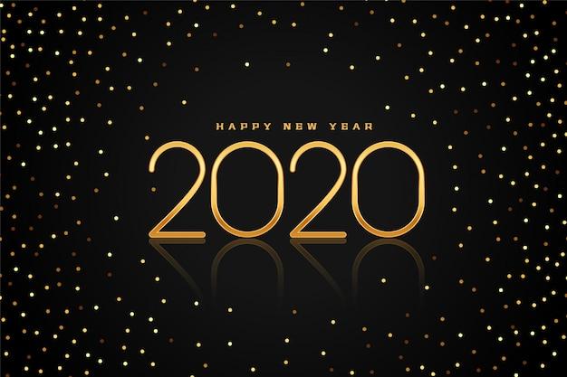 Tarjeta de felicitación de feliz año nuevo de brillo negro y dorado 2020