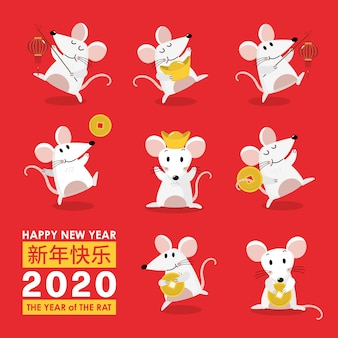 Tarjeta de felicitación de feliz año nuevo chino. zodiaco rata 2020