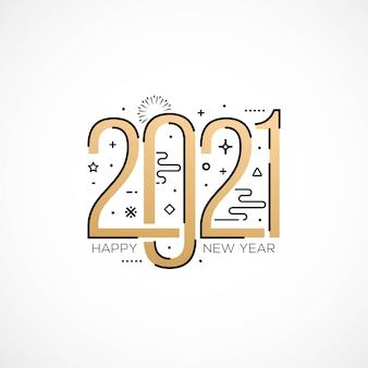 Tarjeta de felicitación de feliz año nuevo con estilo de tipografía