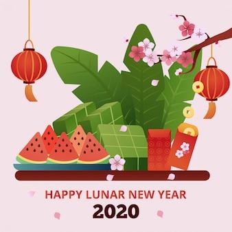 Tarjeta de felicitación feliz año nuevo lunar 2020