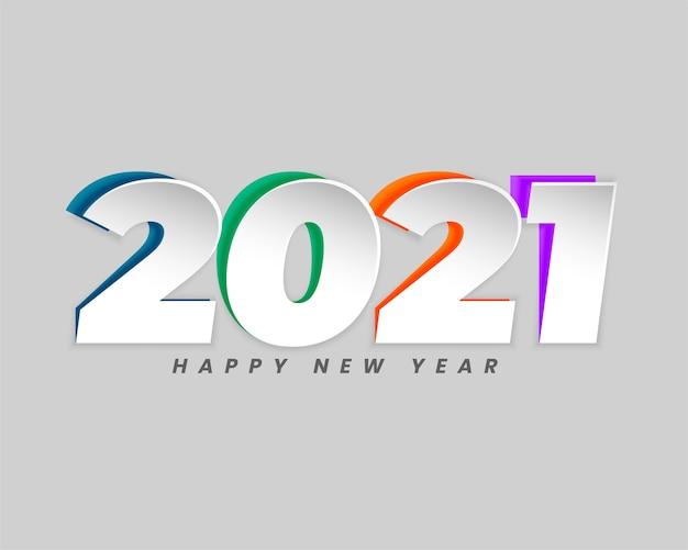 Tarjeta de felicitación de feliz año nuevo con números 2021 en diseño de estilo de corte de papel