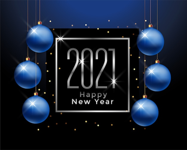 Tarjeta de felicitación de feliz año nuevo con números 2021 en marco y bolas de navidad azules