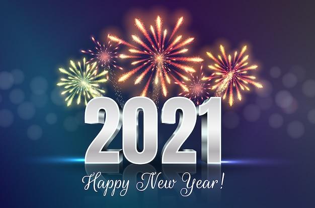 Tarjeta de felicitación de feliz año nuevo con números 2021 y serie de fuegos artificiales.
