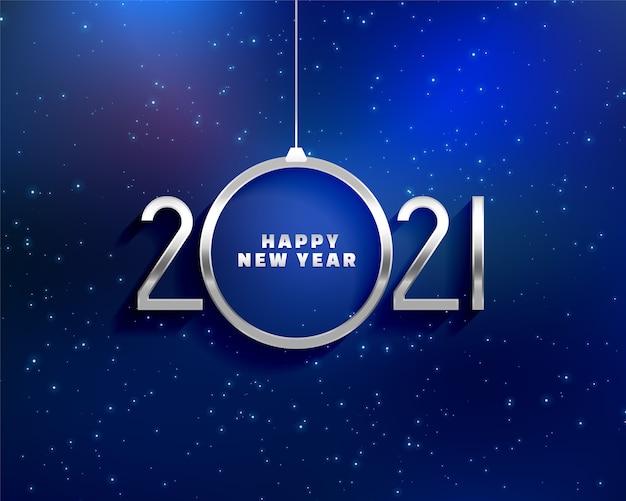 Tarjeta de felicitación de feliz año nuevo con números de metales 2021 y forma de bola navideña