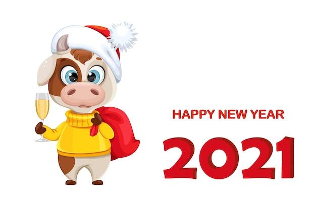 Tarjeta de felicitación de feliz año nuevo con toro divertido