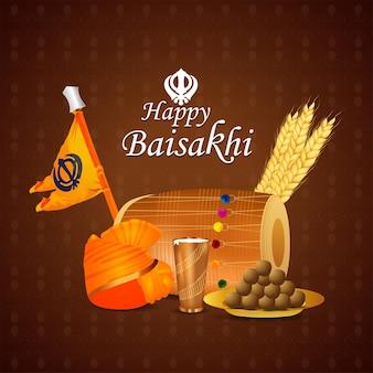 Tarjeta de felicitación feliz baisakhi con tambor y comida