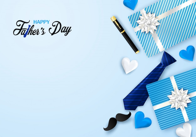 Tarjeta de felicitación feliz de la caligrafía del día de padre. diseño con corazón, corbata sobre fondo azul.