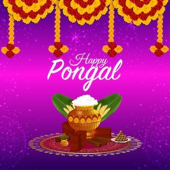 Tarjeta de felicitación para feliz celebración pongal con olla de barro y kalash