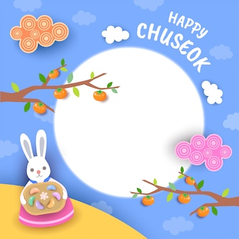 Tarjeta de felicitación feliz del chuseok con el conejito