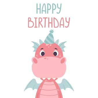 Tarjeta de felicitación de feliz cumpleaños con dragon.