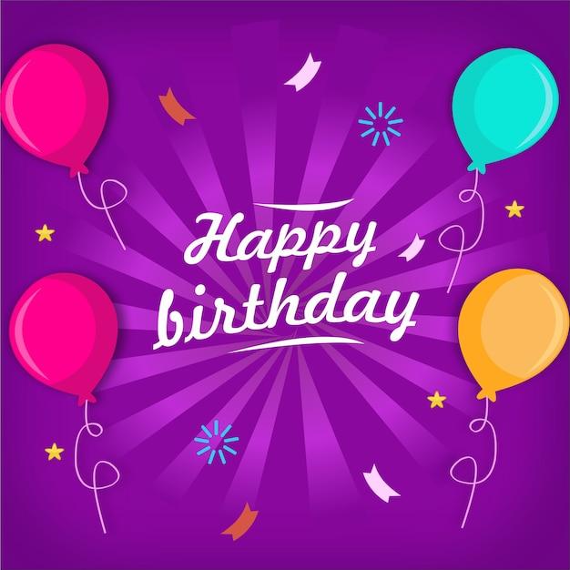 Tarjeta de felicitación de feliz cumpleaños con globo