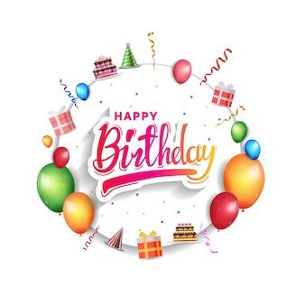 Tarjeta de felicitación de feliz cumpleaños por invitación