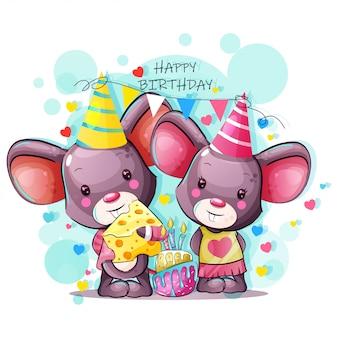 Tarjeta de felicitación de feliz cumpleaños con lindo bebé ratón de dibujos animados