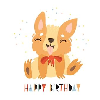 Tarjeta de felicitación de feliz cumpleaños con lindo personaje perrito corgi