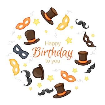 Tarjeta de felicitación de feliz cumpleaños con máscaras y sombreros