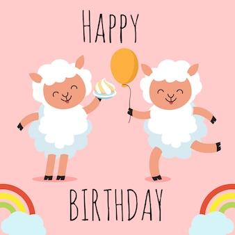 Tarjeta de felicitación de feliz cumpleaños con ovejas de personaje de dibujos animados lindo