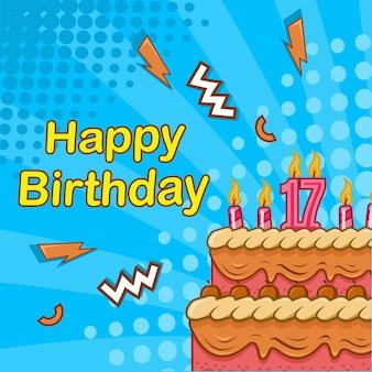 Tarjeta de felicitación de feliz cumpleaños con pastel de cumpleaños, vela estilo cómic fondo