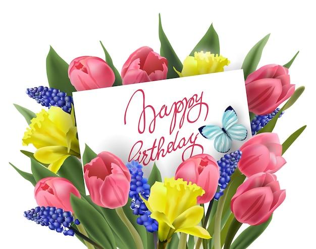 Tarjeta de felicitación de feliz cumpleaños con ramo de flores de primavera, tulipanes, narcisos, plantilla muscarivector