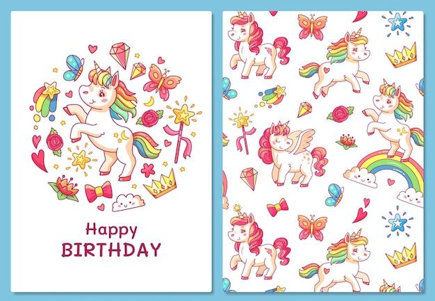 Tarjeta de felicitación de feliz cumpleaños con unicornios mágicos.