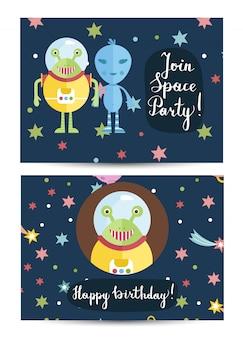 Tarjeta de felicitación de feliz cumpleaños vector de dibujos animados