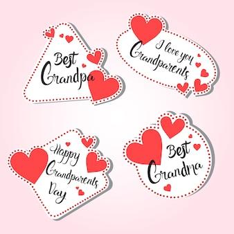 Tarjeta de felicitación feliz del día de los abuelos conjunto de pegatinas de colores sobre fondo rosa
