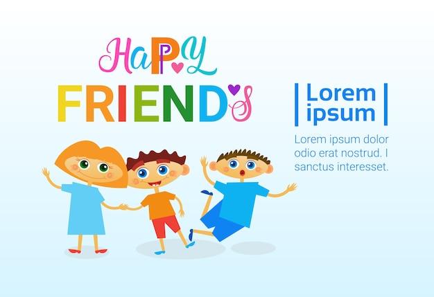 Tarjeta de felicitación feliz día de la amistad amigos holiday banner