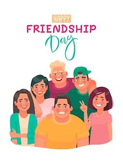 Tarjeta de felicitación feliz día de la amistad con inscripción. amigos abrazándose juntos.