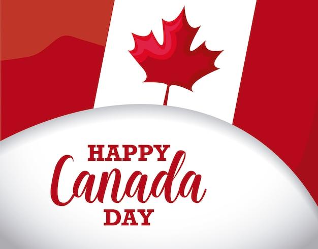 Tarjeta de felicitación del feliz día de canadá con bandera