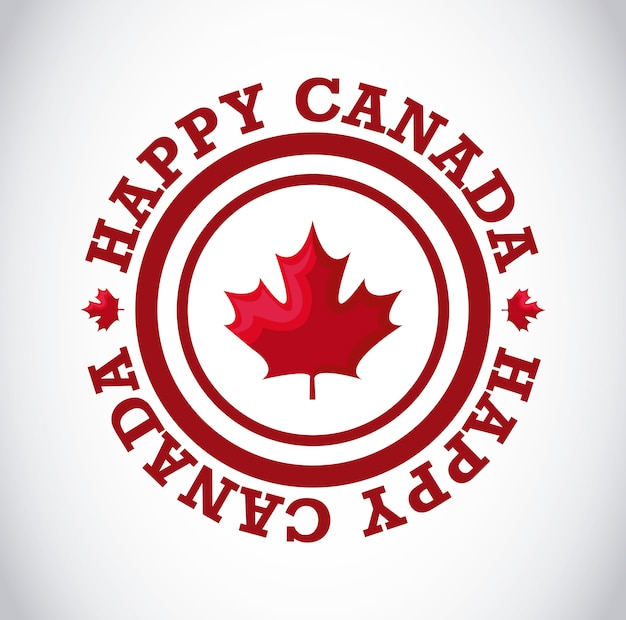 Tarjeta de felicitación del feliz día de canadá con hoja de arce en marco circular