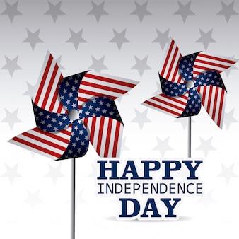 Tarjeta de felicitación feliz día de la independencia, 4 de julio, diseño de los eeuu