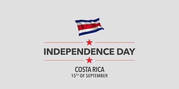Tarjeta de felicitación feliz día de la independencia de costa rica, banner, ilustración vectorial