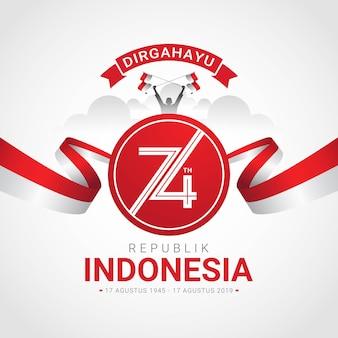 Tarjeta de felicitación feliz día de la independencia de indonesia
