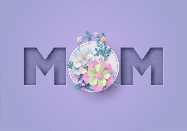Tarjeta de felicitación feliz del día de madre. corte de papel