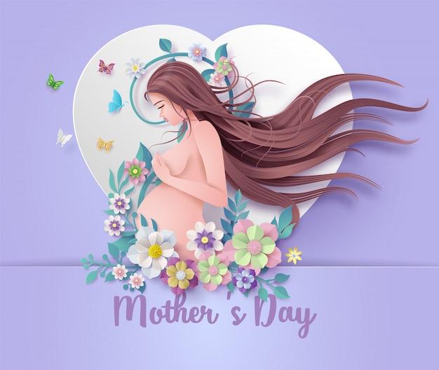 Tarjeta de felicitación feliz del día de madre.
