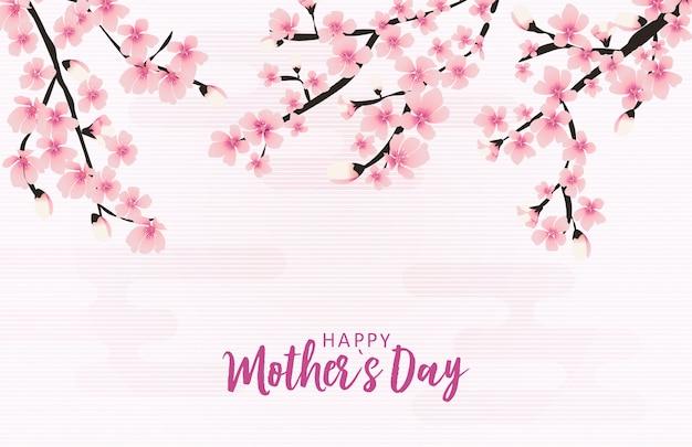 Tarjeta de felicitación feliz del día de las madres con flores de sakura