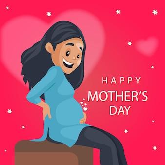 Tarjeta de felicitación feliz del día de las madres con mujer feliz pregant