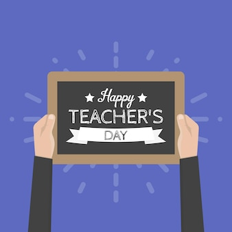 Tarjeta de felicitación feliz día del maestro. ilustración vectorial.