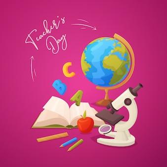 Tarjeta de felicitación feliz del día del maestro con microscopio, manzana, lápices, libro abierto, globo y regla.