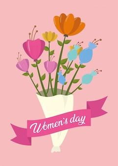 Tarjeta de felicitación de feliz día de la mujer, ramo de flores con cinta