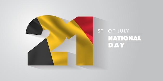 Tarjeta de felicitación del feliz día nacional de bélgica, banner, ilustración vectorial. fondo belga del día 14 de julio con elementos de bandera