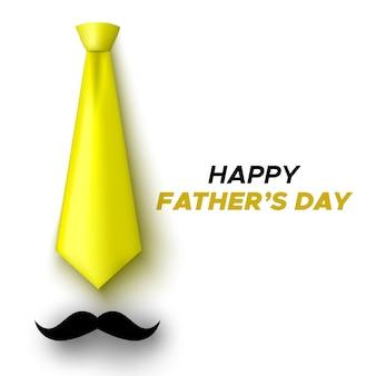 Tarjeta de felicitación feliz del día del padre. corbata amarilla y bigote. ilustración.