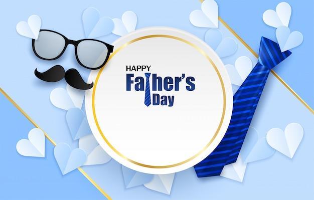 Tarjeta de felicitación feliz del día de padre. diseño con corazón, corbata y gafas.