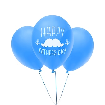 Tarjeta de felicitación feliz del día del padre con globos azules