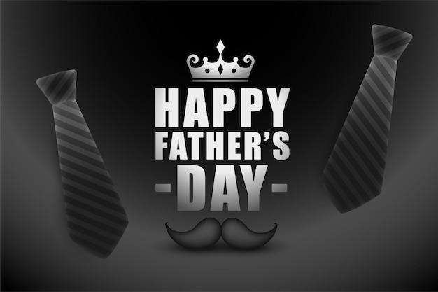 Tarjeta de felicitación feliz del día del padre en tema de color negro