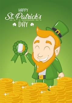 Tarjeta de felicitación feliz del día de san patricio, duende verde con monedas