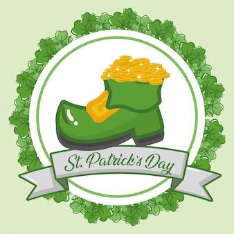 Tarjeta de felicitación feliz del día de san patricio, etiqueta de arranque verde con monedas