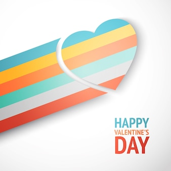 Tarjeta de felicitación de feliz día de san valentín con corazón de arco iris volando