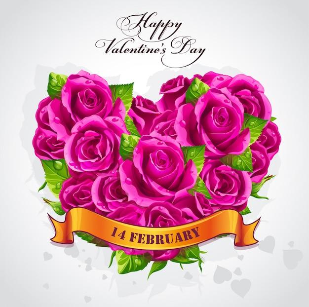 Tarjeta de felicitación feliz día de san valentín con un corazón de rosas