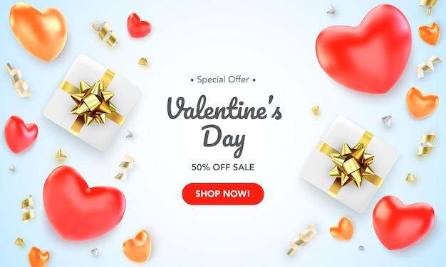 Tarjeta de felicitación de feliz día de san valentín con corazones rojos, regalos y cintas